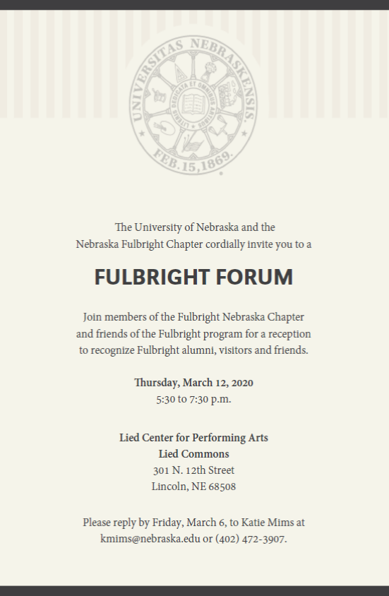 Fulbright Forum March 12 at 5:30 Lied Commons
